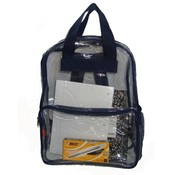 "See-through clear PVC backpack, 17x13x5"", Navy."