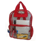 See-through clear PVC backpack, 17x13x5&quot;,Red