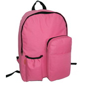 "17"" Backpack w/water bottler holder - Hot Pink"