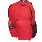 "17"" Backpack w/water bottler holder, 17""x12.5""x5.5"" Red."