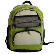 "18"" Backpack w/2 main compts, 18""x13""x8"",Lime Green/Beige."