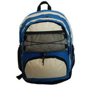 "18"" Backpack w/2 main compts, 18""x13""x8"",Royal/Beige."