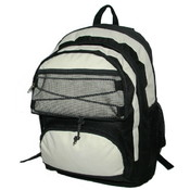 "18"" Backpack w/2 main compts, 18""x13""x8"",Black/Beige."