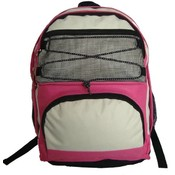 "18"" Backpack w/2 main compartments  - Hot Pink/Bei"