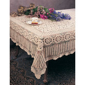 "Hand Crocheted Cotton Tablecloth. 72""x108"" Rectangular. Beige Color."