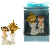 Child Praying Next to Basin Poly Figurine