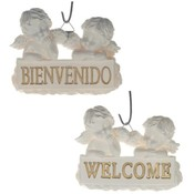 Double Angels Welcome Sign Wall Plaque - White