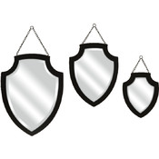 Crestly Black Wall Mirror - Set of 3