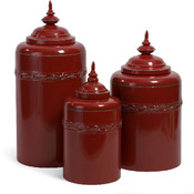Red Metal Canisters - Set of 3