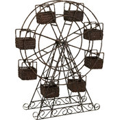 Rattan and Metal Ferris Wheel with Planter Baskets