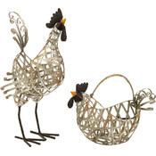 Gentry Wire Chicken And Basket - Set of 2
