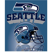 "Seattle Seahawks Light Weight Fleece NFL Blanket (Grid Iron) (50x60"")"""