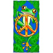 Peace Frog Design Beach Towel