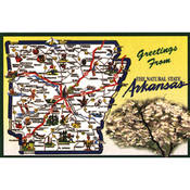 Arkansas Postcard 12134 State Map Wholesale Bulk