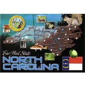 North Carolina Postcard- State Map