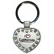 California Metal Heart Keychain