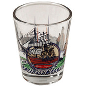 "Connecticut Shot Glass 2.25H X 2"" W 3 View"