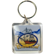 Connecticut Keychain Lucite 3 View