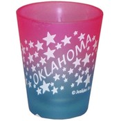 "Oklahoma Shot Glass 2.25H X 2"" W Frosted Colored W"