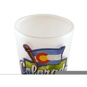 "Colorado Shot Glass 2.25H X 2"" W Frosted Map/Flag"