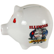 "Illinois Piggy Bank 3"" H X 4"" W State Map"
