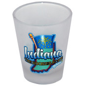 Indiana Shot Glass 2.25H X 2&quot; W Frosted Map/Flag