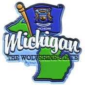 Michigan 2 D Magnet  w/Map & Flag
