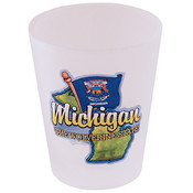 Michigan Shot Glass 2.25H X 2 W Frosted Map/Flag Wholesale Bulk