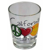 California Shotglass- Peace/Love/Happiness