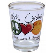 North Carolina Shotglass- Peace/Love/Happiness
