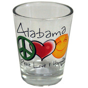 Alabama Clear Shotglass- Peace/Love/Happiness