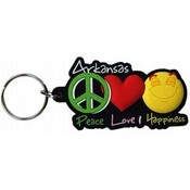 Arkansas PVC Keychain- Peace/Love/Happiness