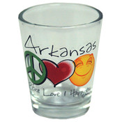 Jenkins Arkansas Shotglass- Peace/Love/Happiness Wholesale Bulk