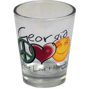 Georgia Shotglass- Peace/Love/Happiness