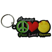 Mississippi PVC Keychain- Peace/Love/Happiness