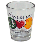 Mississippi Shotglass- Peace/Love/Happiness