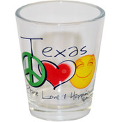 Texas Shotglass- Peace/Love/Happiness