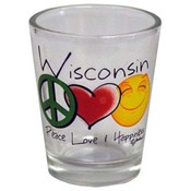 Wisconsin Shotglass- Peace/Love/Happiness