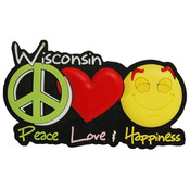 Wisconsin PVC Magnet- Peace/Luv/Happiness