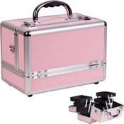 3-Tiers Expandable Trays Pink Makeup Case