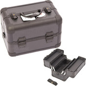 2-Tiers All Black Dot Pattern Makeup Train Case