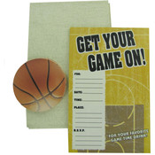 12-Pack Basketball Game Invitations with Coasters Wholesale Bulk