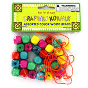 Krafters Korner Craft Wood Beads with String Set Wholesale Bulk
