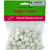 70-Count White Round Wooden Beads Wholesale Bulk