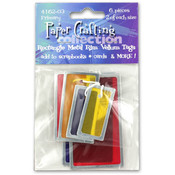 6Pc Square Metal Rim Vellum Tags Primary Colors