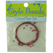 Red Tiger Tail with 32 Crimp Beads Wholesale Bulk