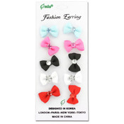5 Pair Bow Fashion Earrings Assorted Colors Wholesale Bulk