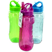 Curved Grip Sports Bottle with Flip Straw Wholesale Bulk