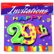 8-Pack 29th Birthday Party Invitations Wholesale Bulk