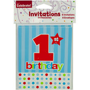 8 Pack 1st Birthday Invitations w/Envelopes Wholesale Bulk